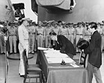 Mamoru Shigemitsu signs the Instrument of Surrender, officially ending the Second World War.jpg