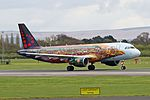 "Manchester Airport Brussels Airlines A320 OO-SNF ""Tomorrowland Livery"" (33202805133).jpg"