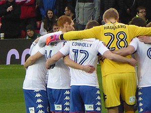 2016–17 Wigan Athletic F.C. season - Team huddle before the Latics' FA Cup clash with Manchester United, January 2017