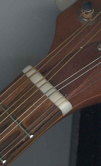 Nut (string instrument) - Image: Mandolin nut