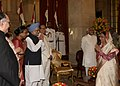 Manmohan Singh and the Speaker, Lok Sabha, Smt. Meira Kumar being welcomed by the President, Smt. Pratibha Devisingh Patil at the 'At Home' on the occasion of 65th Independence Day, at Rashtrapati Bhavan, in New Delhi.jpg