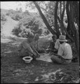 Manzanar Relocation Center, Manzanar, California. Evacuees enjoying games under the shade of trees . . . - NARA - 538082.tif