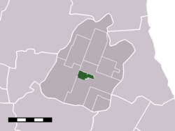 The town centre (dark green) and the statistical district (light green) of Middenbeemster in the municipality of Beemster.