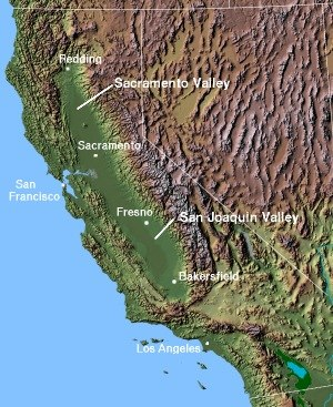 Sacramento Valley - Image: Map california central valley