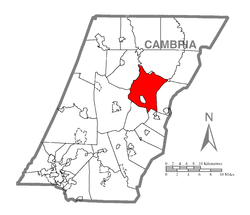 Map of Cambria County, Pennsylvania highlighting Allegheny Township