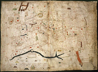 Conquest of the Canary Islands -  Portolan of Angelino Dulcert (1339) showing Lanzarote island