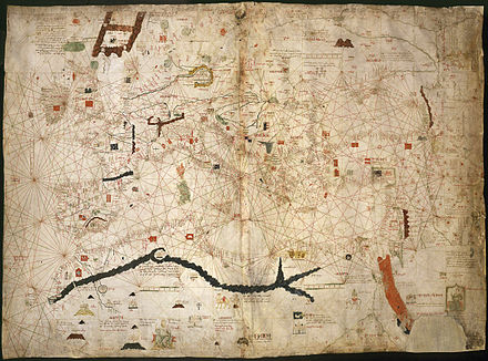 Portolan of Angelino Dulcert (1339) showing Lanzarote island Map of Angelino Dulcert cropped.jpg
