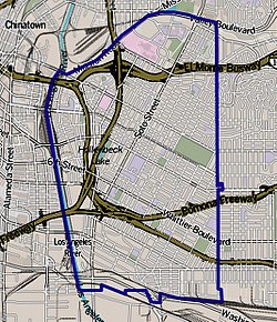Boundaries of Boyle Heightsas drawn by the Los Angeles Times