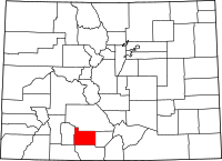 Map of Colorado highlighting Rio Grande County