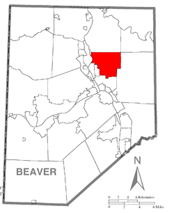 Map of Beaver County, Pennsylvania highlighting Daugherty Township