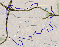 Boundaries of Eagle Rock as drawn by the L.A. Times