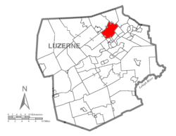 Map of Luzerne County highlighting Kingston Township