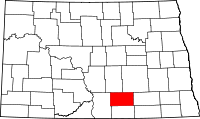 Map of North Dakota highlighting Logan County