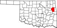 Map of Oklahoma highlighting Cherokee County.svg