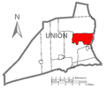 Map of Union County, Pennsylvania Highlighting Kelly Township.PNG
