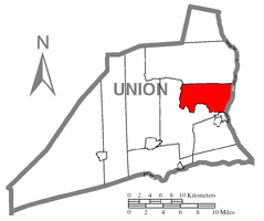 Map of Union County, Pennsylvania highlighting Kelly Township