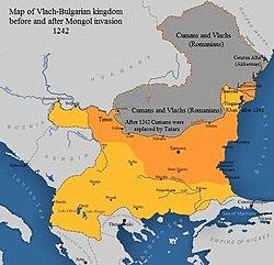 Karte des wlachisch-bulgarischen Königreichs vor und nach der Invasion der Mongolen