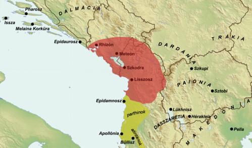 Map of the Kingdom of Pinnes in 228 BC (Hungarian).png