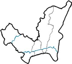 """Mapa konturowa Sarajewa, blisko centrum po prawej na dole znajduje się punkt z opisem """"Uniwersytet w Sarajewie"""""""