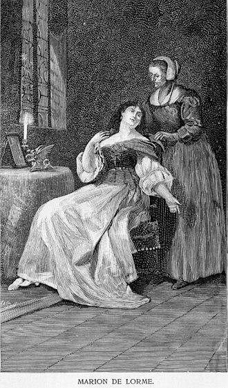 Marion Delorme - Wood engraving of the character Marion de Lorme from Victor Hugo's play of the same name.
