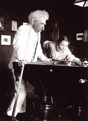 Cushion caroms - Photograph of Mark Twain and Louise Paine playing billiards