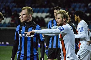 Markus Berger - Berger (left) in action for Chornomorets