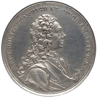 Martin Holtzhey - Portrait of the medallist Martin Holtzhey, obverse. Silver, 1729. Holtzhey produced this medal to advertise his work and name.