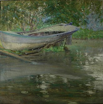 "Visual arts of Chicago - ""Blue Boat"" by Mary Agnes Yerkes, circa 1920, oil on canvas."