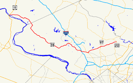 A map of central Maryland showing major roads.  Maryland Route 28 runs from southern Frederick County through eastern Montgomery County