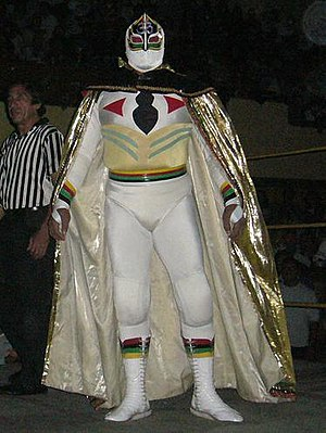 El Alebrije (wrestler) - The original Máscara Sagrada, El Alebrije wore an identical outfit when he played the part.