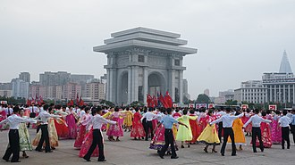 Day of Songun - Day of Songun celebrations by the Arch of Triumph in Pyongyang