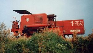 State Agricultural Farm - One of the many agricultural machines used in the State Farms - harvester Bison model Z056