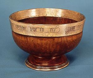 Nanteos Cup - An example of a 14th-century mazer, similar in design to the Nanteos Cup. This mazer is fashioned from maplewood and retains its silver-gilt rim. Made around 1380, it is in the collection of the Victoria and Albert Museum, London