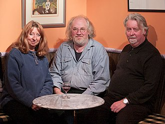 John Renbourn - Jacqui McShee, John Renbourn and Wynd Theatre owner Felix Sear on November 8th 2003