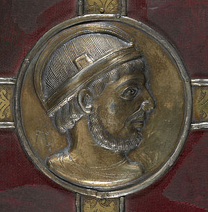 Lothair I - Medallion portrait presumed to be of Lothair, from the binding of the Lothaire Psalter in the British Library