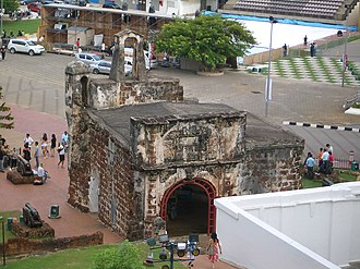 A Famosa - A view of the gate of the A Famosa fort from the rear.