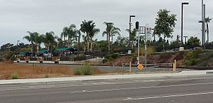 Melrose Drive station - Train platforms seen from Melrose Drive