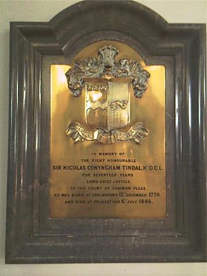 Nicholas Conyngham Tindal - Memorial to Nicholas Tindal at Chelmsford Cathedral