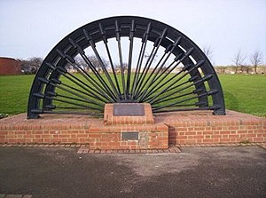 Shotton Colliery - Image: Memorial Pit Wheel Shotton Colliery geograph.org.uk 662090
