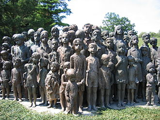 "Protectorate of Bohemia and Moravia - Memorial to the murdered children of Lidice. Some Lidice children were spared because they were considered suitable for ""Germanization""."