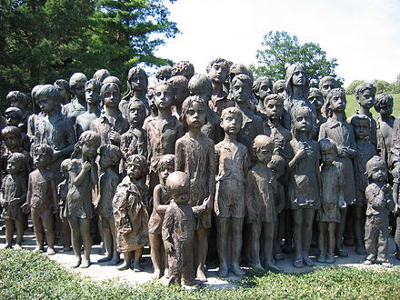 "Memorial to the murdered children of Lidice. Some Lidice children were spared because they were considered suitable for ""Germanization"". Memorial lidice children (2007)-commons.JPG"