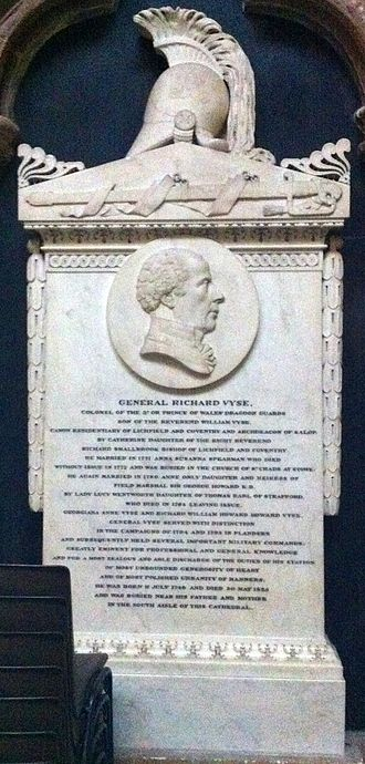 Richard Vyse - Memorial to Richard Vyse in Lichfield Cathedral