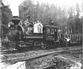 Men, women and dog with Wynooche Timber Company 0-6-4 side-tank locomotive no 1, Montesano, ca 1921 (KINSEY 1045).jpeg