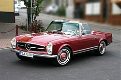 1964 Mercedes-Benz 230SL roadster, Euro model (571H red).