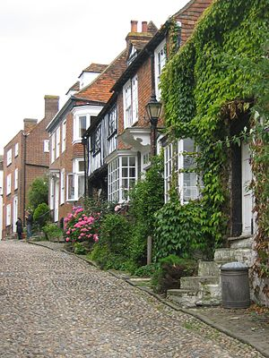 East Sussex - Mermaid Street in Rye showing typically steep slope and cobbled surface