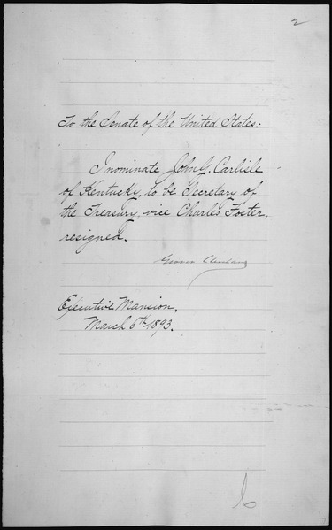 File:Message of President Grover Cleveland nominating John G. Carlisle to be Secretary of the Treasury, 03-04-1893 - NARA - 306331.tif