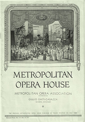 Metropolitan Opera House (39th Street) - Metropolitan Opera House program cover depicting the Proscenium arch in 1935