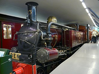London Underground rolling stock - Metropolitan Railway steam locomotive number 23, one of only two surviving locomotives, is displayed at London Transport Museum.