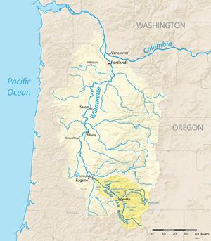 Willamette River Map Middle Fork Willamette River   Wikipedia