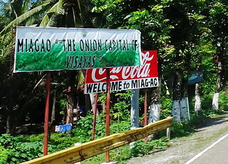 Miagao - A road sign seen upon entering the first barangay (Barangay Calampitao)  of the Municipality of Miagao from Iloilo City.